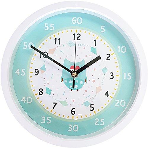 Easy Read Time Teacher Children's Wall Clock Silent & Non-Ticking Quartz Movement Learn to tell the time Kids clocks Owl (White)