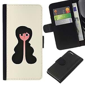 KLONGSHOP // Tirón de la caja Cartera de cuero con ranuras para tarjetas - Retrato la muchacha del estilo Art Negro Cabello ondulado - Apple Iphone 5C //