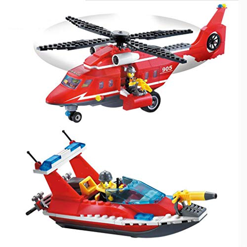 Helicopter Block - City Coast Guard Sea Rescue Plane Building Kit,Children's Toy Building Blocks,1 Helicopter, 1 Fire Speedboat, 1 Offshore Drilling Platform, 3 Dolls(404 Building Blocks)