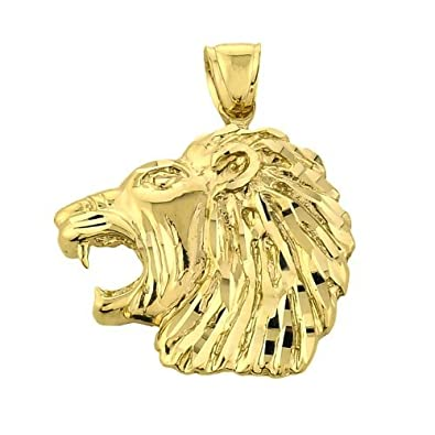 Bold 10k yellow gold side view roaring lion head pendant amazon bold 10k yellow gold side view roaring lion head pendant aloadofball Image collections