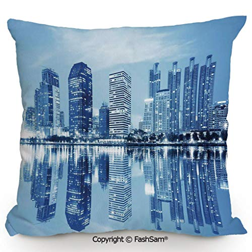 FashSam Decorative Throw Pillow Cover Night Scene of City Buildings Architecture Twilight Water Reflection Metropolitan for Pillow Cover for Living Room(20