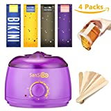 Sansido Wax Warmer Waxing Hair Removal Kit +4 Bags of Hard Wax Beans + 10 Wax Applicator Sticks