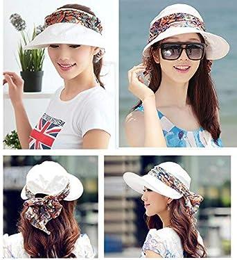 Blanc, Noir 2 Pi/èces Chapeau de Soleil /à Large Bord pour Femme Protection UV Convertible Chapeau de Visi/ère de Plage