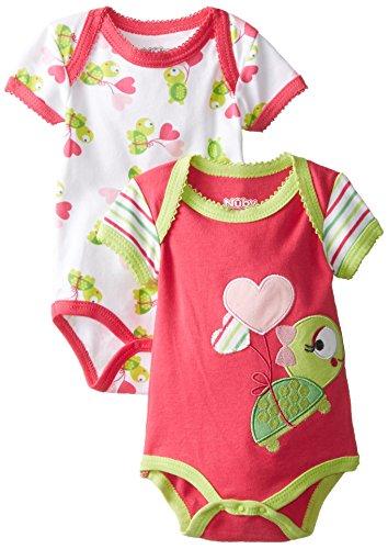 NUBY Baby-Girls Newborn 2 Pack Bodysuit Baby Turtle, Red, 0-3 Months