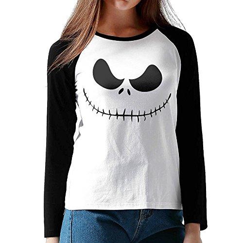 RING Women's Nightmare Before Christmas Jack Skellington Raglan Sleeve T-shirts Long (Black Beetle Juice)