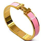 Buckle Bangle Bracelet 12MM Color Gold/Pink