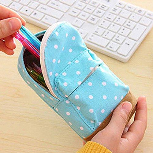 dragonaur Fashion Dot Canvas Reißverschluss Bleistift Pen Fall Tasche für Student Schultasche 16.5cm gelb hellblau