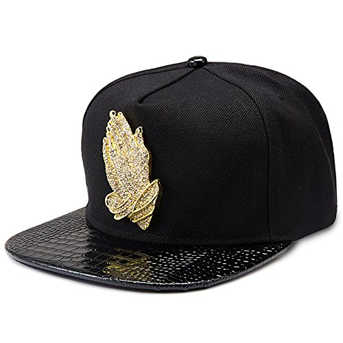 MCSAYS Fashion Hip Hop Style Crystal CZ Iced Out Praying Hnads Jesus Pendant Adjustable Snapback Cotton Baseball Cap/Hats Sports Hat, Black