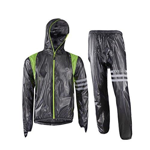 RockBros Men's Waterproof Rain Jacket Cycling Running Rain Coat Pants Set Reflective Rainsuit Black