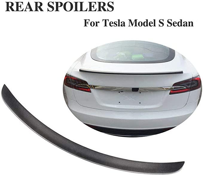 Real Carbon Fiber MotorFansClub Rear Spoiler Trunk Wing Fit for Compatible with Tesla Model S 2012-2020 Performance Style