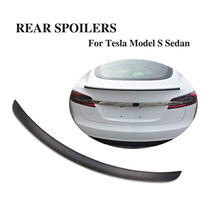 JCSPORTLINE Carbon Fiber Rear Trunk Spoilers for Tesla Model S Sedan 4-Door  2012-2019 (Matt Black)
