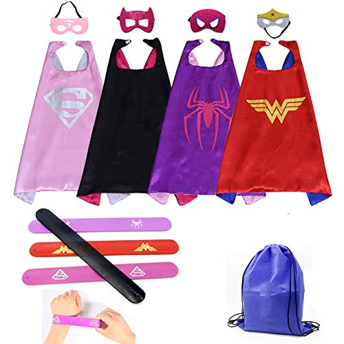 Kids Cartoon Dress up Costumes Girls Superhero Capes and Masks 4 Characters with Slap Bracelets for Cosplay Party Game Toys 4pcs -