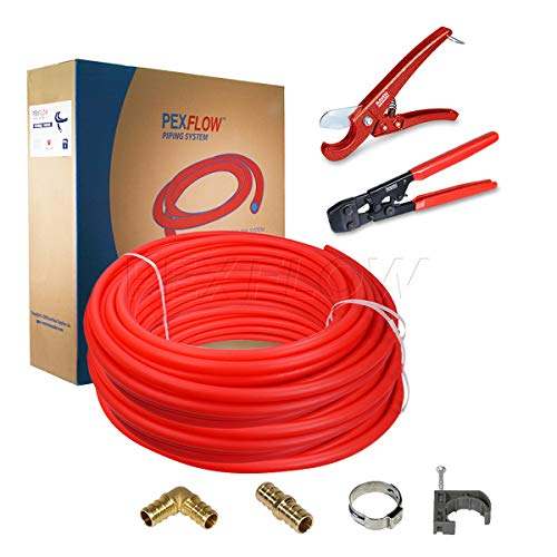 Pexflow PXKTOB341000 Starter Kit 3/4 Inch X 1000 Feet Oxygen Barrier PEX Tubing, Crimp & Cutter Tool, Oetiker Crimp Rings, Half Clamp, Pex Barb Elbow Straight Coupling Pex Barb Plug, Full Strap w/Nail