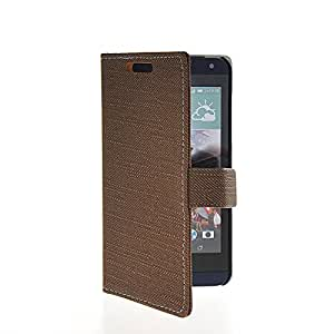 LINTAO Leather Wallet Flip Card Stand Side Pouch Back Case Cover For HTC Desire 610 Coffee