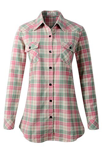 Benibos Women's Mid-Long Style Roll-Up Sleeve Plaid Flannel Shirt (US 8, C023 Pink Green) (Plaid Pink Green And)