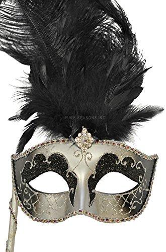 Pure Seasons Colombina Vanity Fair Venetian Mask (Black/Silver)-Standard