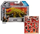 Jurassic World Minmi Attack Pack Dinosaur Figure + One Sheet of 12 Dinosaur Stickers Bundle (2 Items)