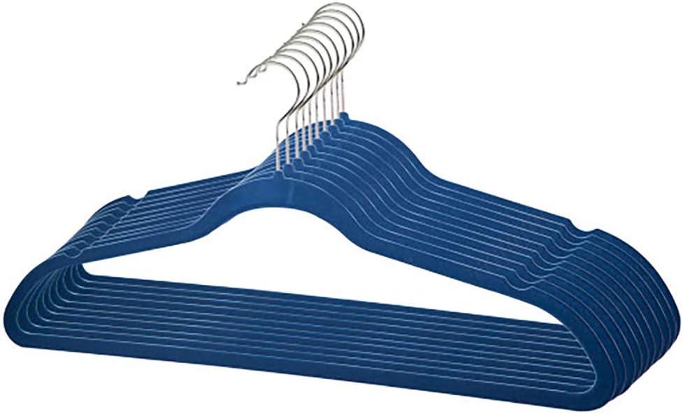 Home Basics Velvet Hangers Non-Slip Hanger-10 Pack-Clothes Hangers, Space Saving Ultra Slim Velvet Hanger with Rotating Steel Hook (10, Navy)