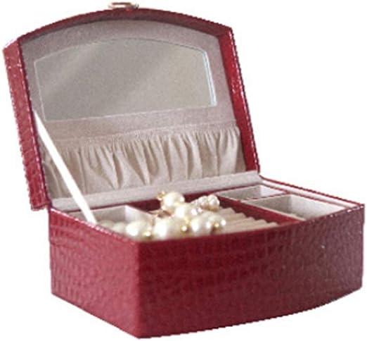 Ningz0l Caja Joyero, Cuero con Espejo de vanidad para Anillos Aretes Pendientes Pulseras Y Collares Viaje Cajas para Joyas para Mujer Madre Regalo 23 * 18 * 9.5cm: Amazon.es: Hogar