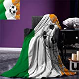smallbeefly Irish Digital Printing Blanket Sports Theme Soccer Ball in a Net Game Goal with Ireland National Flag Victory Win Summer Quilt Comforter Multicolor