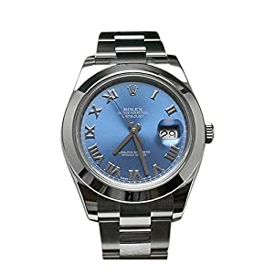 Rolex Datejust II 41 Blue Azzurro Roman Dial Steel Mens Watch 116300