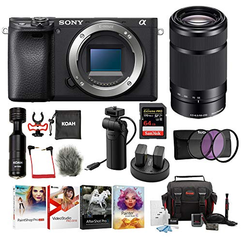 Sony a6400 Body Only Mirrorless Digital Camera Bundle: 64 GB SDXC Card, Filter Kit, 3 Batteries, USB Charger, Corel Photo Suite, Messenger Bag, VCT-SGR1 Grip, SD Card Wallet, Shotgun Mic