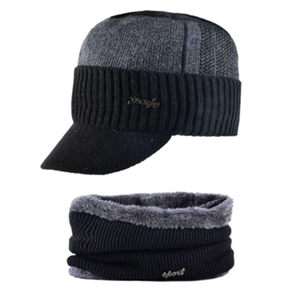 Sombrero bufanda invierno cálido hombres terciopelo grueso gorra ...