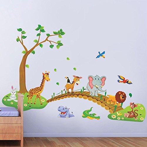 Copter Shop 3D Cartoon Jungle wild animal tree bridge lion Giraffe elephant birds flowers wall stickers for kids room living room home decor Lollipop Jungle Wall