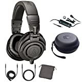 Audio-Technica Limited Edition Professional Studio Monitor Headphones Gray (ATH-M50xMG) with Audio-Technica Omnidirectional Condenser Lavalier Microphone & Slappa HardBody PRO Headphone Case Black