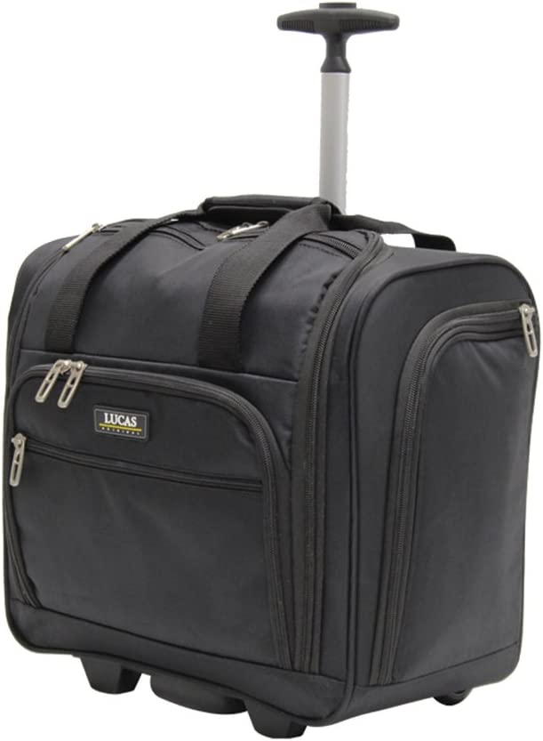 Lucas Cabin Luggage Collection - Small Lightweight 15 Inch Under Seat Bag - Garment Briefcase for Men & Women - Carry On Suitcase with 2- Rolling Spinner Wheels (Black)