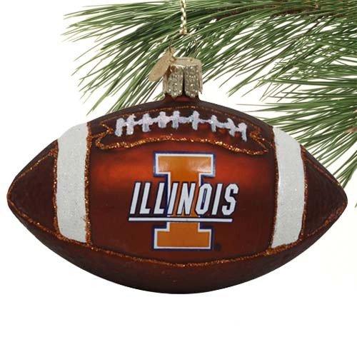 Illini Glass Fighting Illinois (NCAA Illinois Fighting Illini Glass Football Ornament)