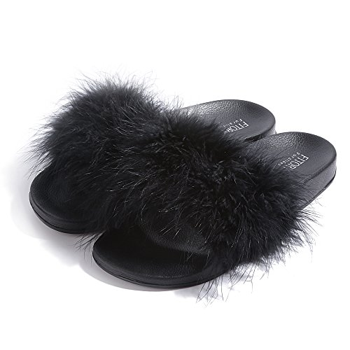 Slides for Womens Faux Fur Fuzzy Slippers with Arch Support in Flat Sandals Girls Outdoor Indoor Shoe, Black ,9-10 B(M) US by FITORY (Image #5)