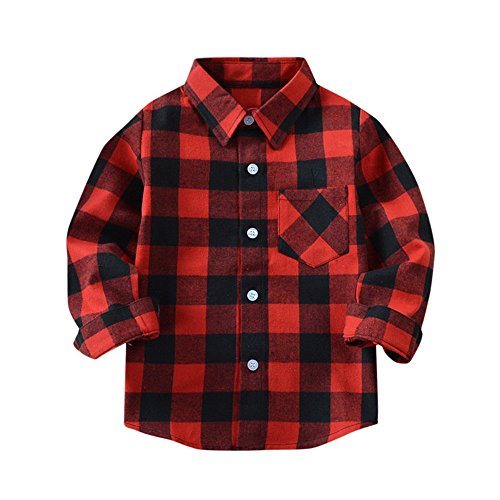 Kehen Kids Little Boys Girls Long Sleeve Button Down Plaid Flannel Shirt Blouse Tops With Pocket (Red #2, 2T)