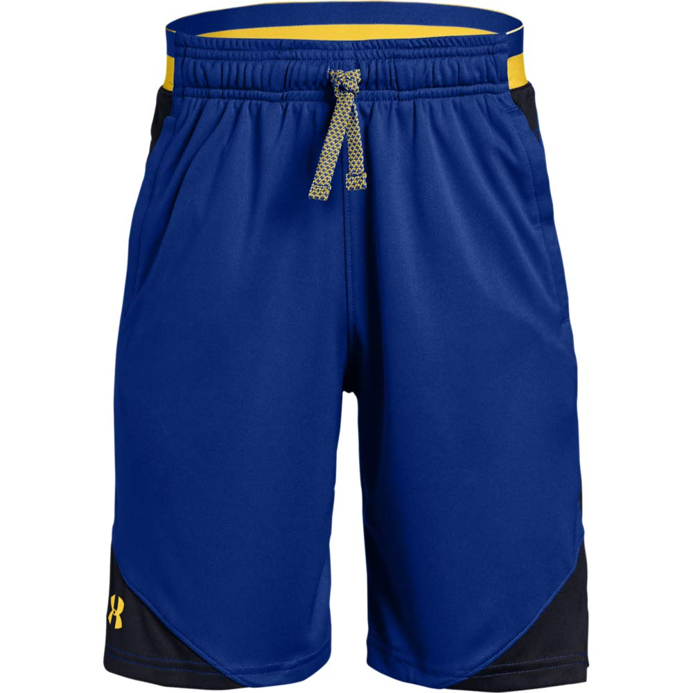 Under Armour Boys' Stunt 2.0 Workout Gym Shorts, Royal (400)/Taxi, Youth Large by Under Armour