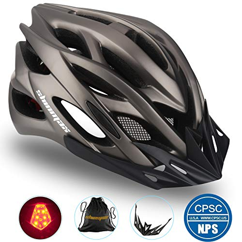 Basecamp Specialized Bike Helmet, Bicycle Helmet CPSC&CE Certified with Helmet Accessories-LED Light&Removable Visor&Portable Bag Cycling Helmet BC-DDTK Adjustable for Men/Women(Titanium)