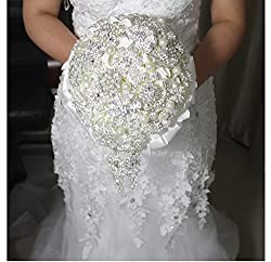 Coeus Luxury DIY Handmade Romantic Silk Roses with Different Styles of Diamonds Wedding Bouquet Come with a Headdress As a Gift