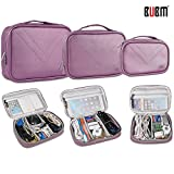 BUBM 3pcs Set Electronic Organizer, Travel Gear Bag for Cables Cords, Mouse, Memory Card, Power Bank and iPad (Purple,L/M/S)