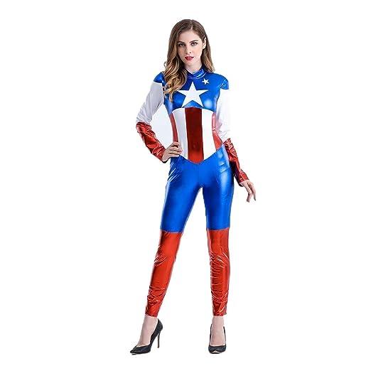 QQWE Cosplay Traje del Capitán América para la Mujer Super ...