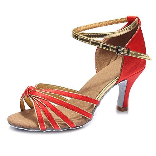 Zapatillas Latino Altura 5CM 7CM Baile tacón HIPPOSEUS para de 7cm Mujer Rojo Modelo ES217 del Satén dx0ntaqw