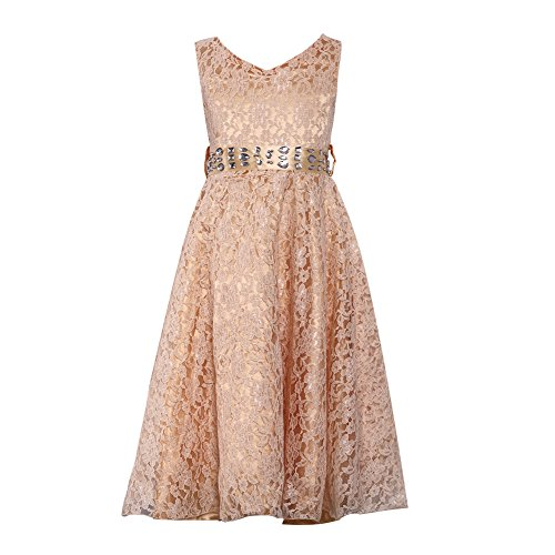 - FREE FISHER Kids Girls A Line Lace Formal Gown Dress with Crystal Rhinestone Beige 12