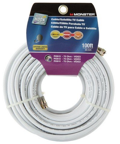 CABLE COAX RG6 100 WHT by MONSTER JHIU MfrPartNo 140041-00