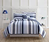 quilts in blue - Laura Hart Kids Kids Mason Stripe, Twin Quilt Mini Set, Blue/White