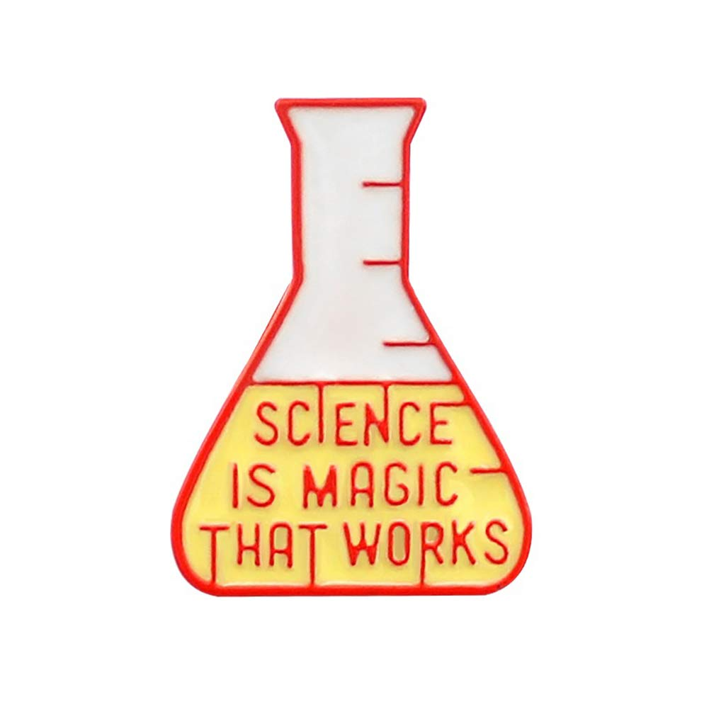 856store The Latest Magic Scientific Chemical Experiment Test Bottle Brooch Pin Denim Lapel Badge Red