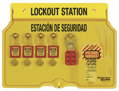 Master Lock Spanish/English 4-Padlock Capacity Station With Cover, Includes 4 Zenex Padlocks by Master Lock