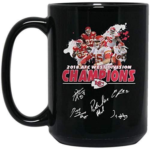 - 2018 AFC WEST DIVISION CHAMPIONS KANSAS CITY CHIEF 15 oz. Black Mug