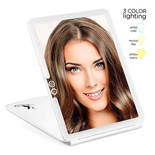 Makeup Mirror, Vanity Mirror, LED Vanity Mirror, 3 Color Light Portable Mirror, Travel Vanity Mirror, Vanity Makeup Mirror, Travel Rechargeable Mirror