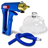 LeLuv Maxi Hand-Operated Vagina Labia Natural Body Enhancement Pump Acrylic Cup Blue Handle & Uncollaspable Premium Slippery Silicone Hose
