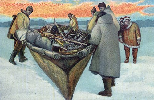 Whaling Boat (Alaska - Eskimos Launching Whaling Boat (16x24 SIGNED Print Master Giclee Print w/Certificate of Authenticity - Wall Decor Travel Poster))