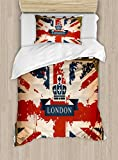 Ambesonne Union Jack Duvet Cover Set Twin Size, Vintage Travel Suitcase with British Flag London Ribbon and Crown Image, Decorative 2 Piece Bedding Set with 1 Pillow Sham, Dark Blue Red Brown