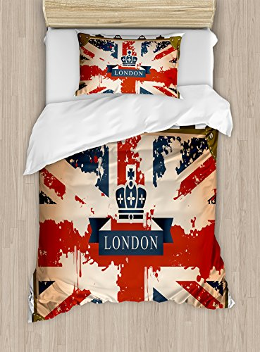 Ambesonne Union Jack Duvet Cover Set Twin Size, Vintage Travel Suitcase with British Flag London Ribbon and Crown Image, Decorative 2 Piece Bedding Set with 1 Pillow Sham, Dark Blue Red Brown by Ambesonne